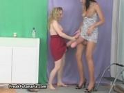 Tall brunette girl helps