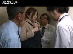 beauty office lady bukkake blowjob in elevator