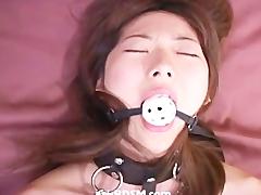 Beautiful asian girl tied and masturbation dildo