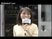 Asian TV Reporter Tries Cum