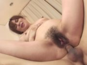 Mature asian milf filled with two cocks in a th...