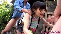 Tiny japanese hos face sprayed